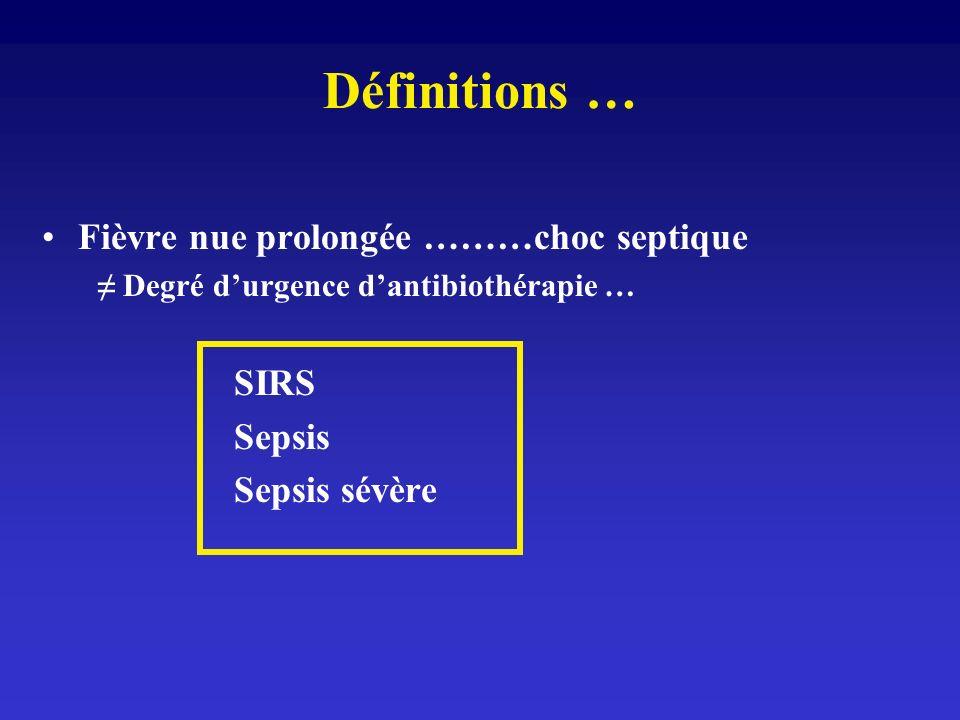 « SIRS » Réponse physiologique aigue à toute agression, infectieuse ou non (trauma, brûlure, pancréatite …) = présence 2 critères suivants: T° > 36 ou > 38 FC > 90/m FR > 20/m ou PaCO2 < 32 mmHg GB 12.000 ou > 10% formes immatures