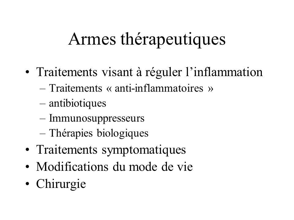 Armes thérapeutiques Traitements visant à réguler linflammation –Traitements « anti-inflammatoires » –antibiotiques –Immunosuppresseurs –Thérapies bio