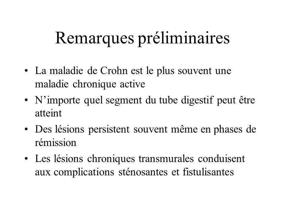 Remarques préliminaires La maladie de Crohn est le plus souvent une maladie chronique active Nimporte quel segment du tube digestif peut être atteint