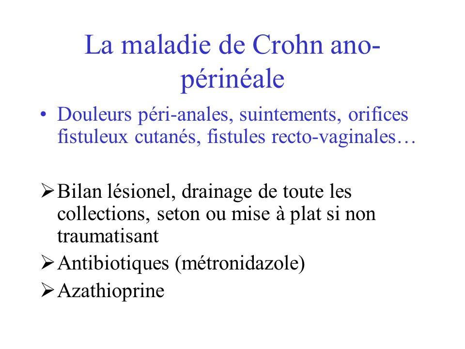 La maladie de Crohn ano- périnéale Douleurs péri-anales, suintements, orifices fistuleux cutanés, fistules recto-vaginales… Bilan lésionel, drainage d