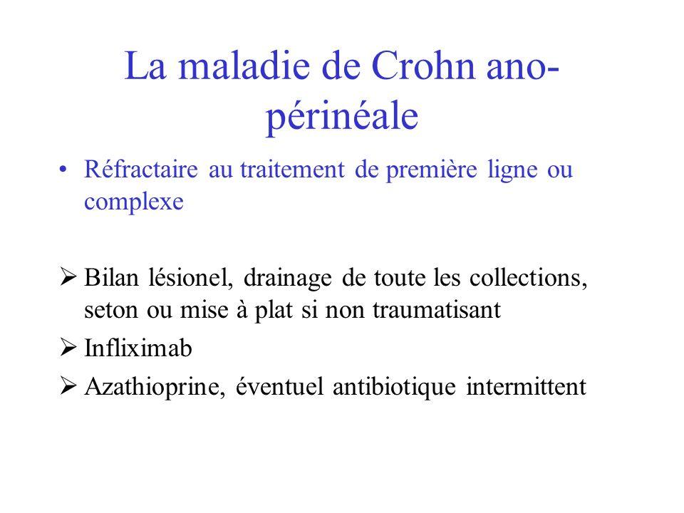 La maladie de Crohn ano- périnéale Réfractaire au traitement de première ligne ou complexe Bilan lésionel, drainage de toute les collections, seton ou