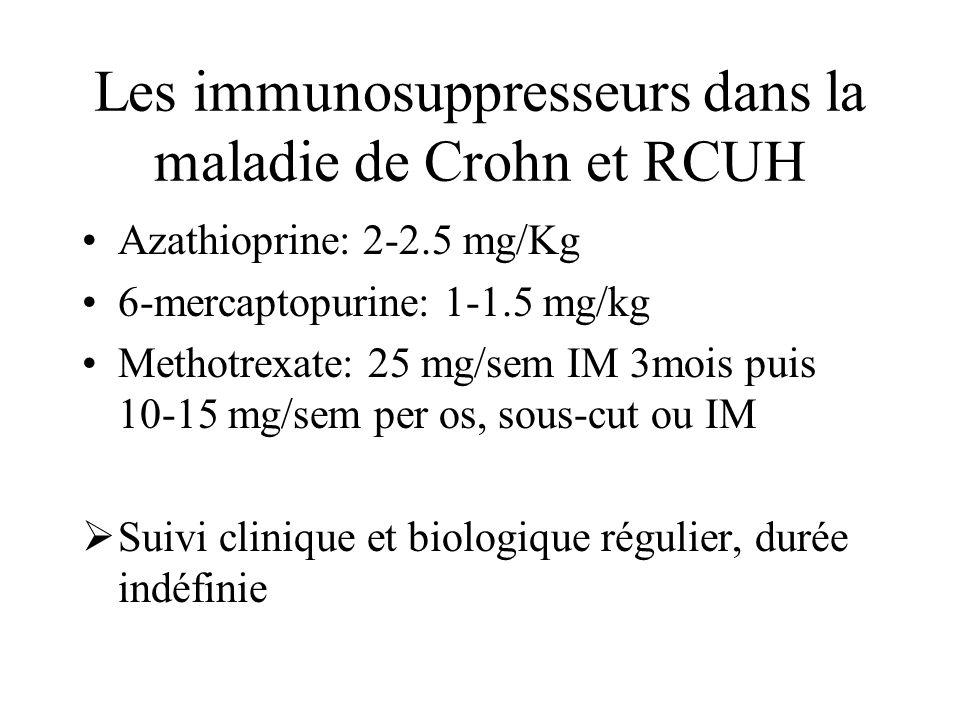 Les immunosuppresseurs dans la maladie de Crohn et RCUH Azathioprine: 2-2.5 mg/Kg 6-mercaptopurine: 1-1.5 mg/kg Methotrexate: 25 mg/sem IM 3mois puis