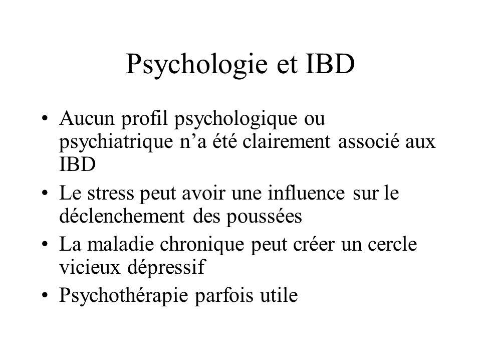 Psychologie et IBD Aucun profil psychologique ou psychiatrique na été clairement associé aux IBD Le stress peut avoir une influence sur le déclencheme