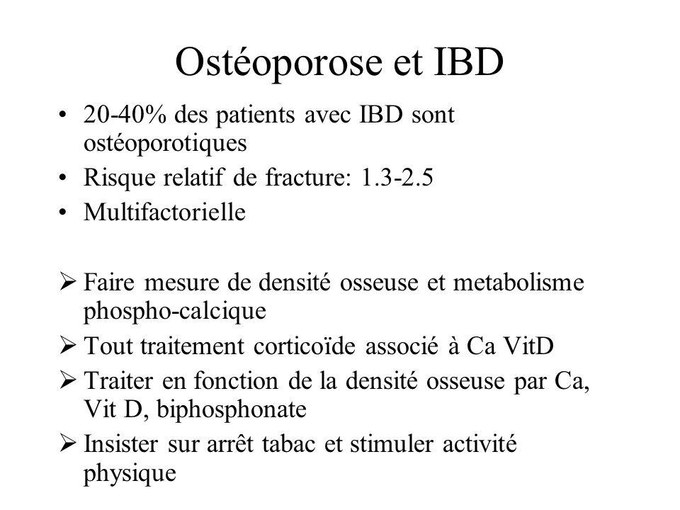 Ostéoporose et IBD 20-40% des patients avec IBD sont ostéoporotiques Risque relatif de fracture: 1.3-2.5 Multifactorielle Faire mesure de densité osse