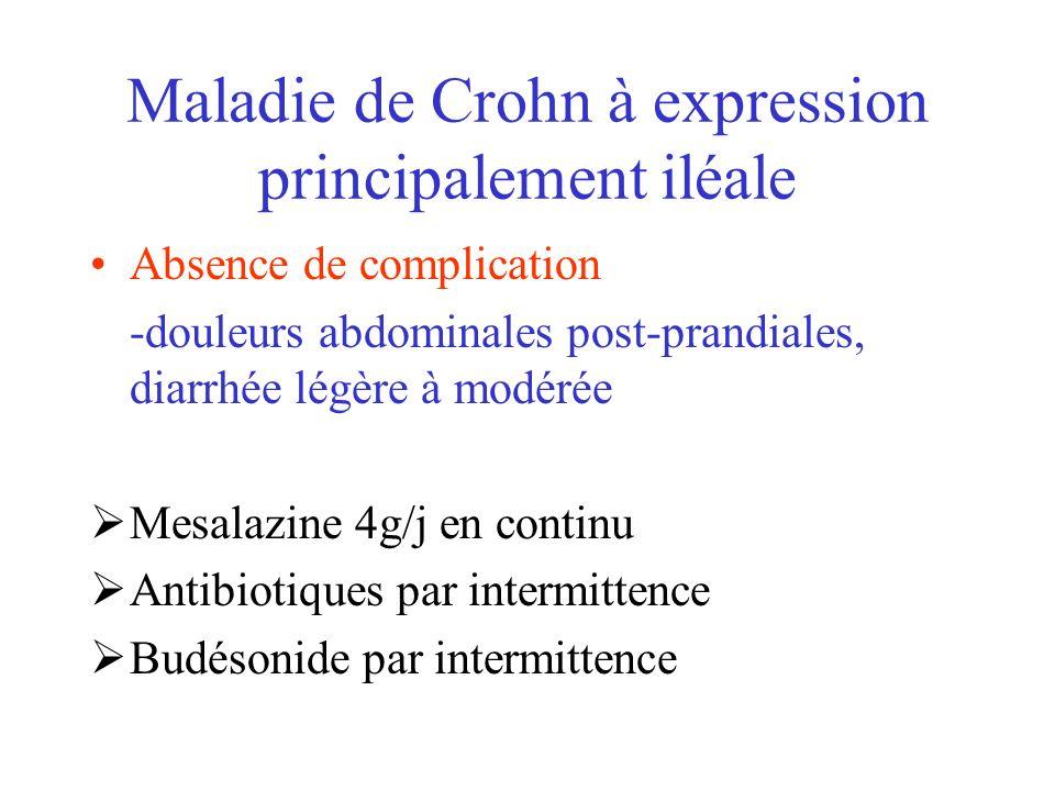 Maladie de Crohn à expression principalement iléale Absence de complication -douleurs abdominales post-prandiales, diarrhée légère à modérée Mesalazin