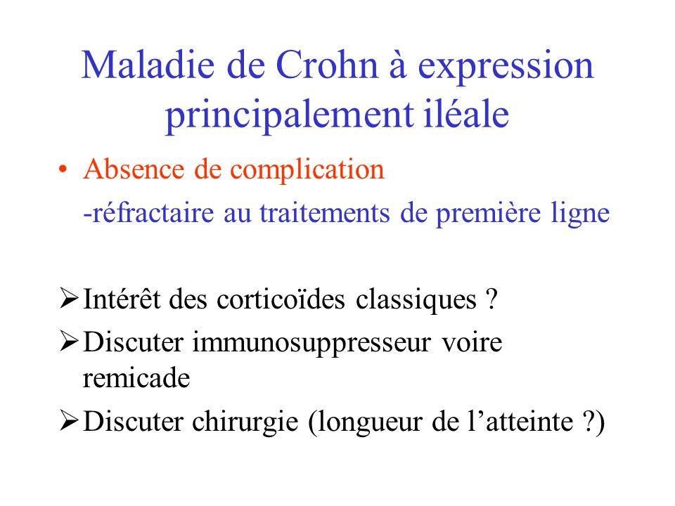 Maladie de Crohn à expression principalement iléale Absence de complication -réfractaire au traitements de première ligne Intérêt des corticoïdes clas