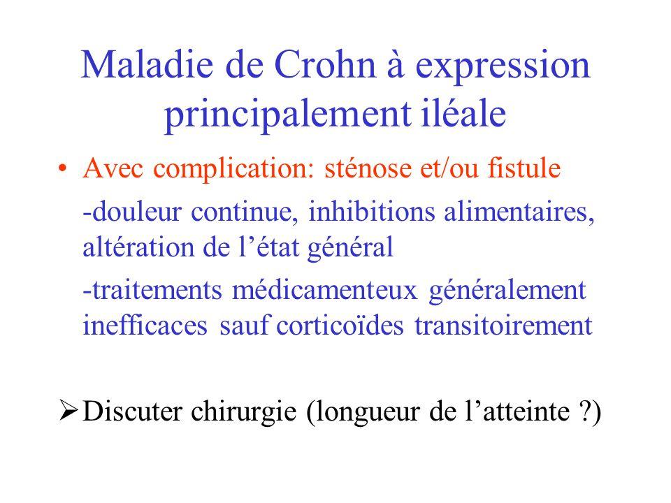 Maladie de Crohn à expression principalement iléale Avec complication: sténose et/ou fistule -douleur continue, inhibitions alimentaires, altération d