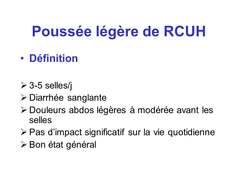 Poussée légère de RCUH Définition 3-5 selles/j Diarrhée sanglante Douleurs abdos légères à modérée avant les selles Pas dimpact significatif sur la vi