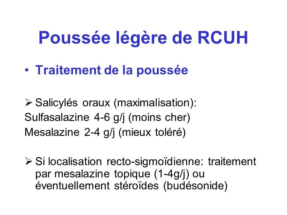 Poussée légère de RCUH Traitement de la poussée Salicylés oraux (maximalisation): Sulfasalazine 4-6 g/j (moins cher) Mesalazine 2-4 g/j (mieux toléré)