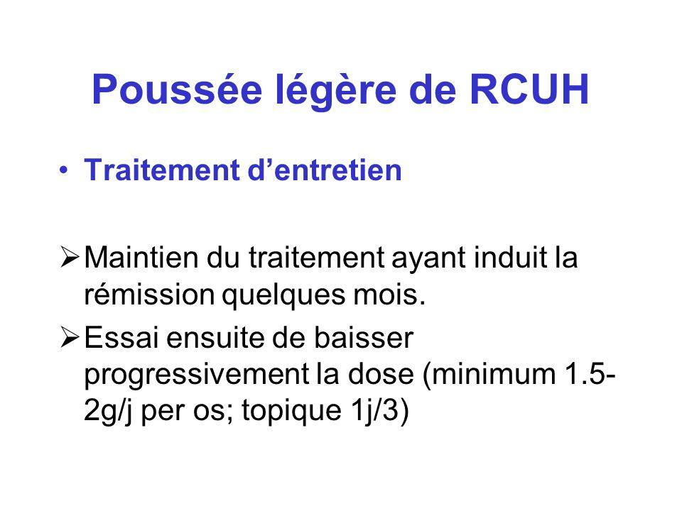 Poussée légère de RCUH Traitement dentretien Maintien du traitement ayant induit la rémission quelques mois. Essai ensuite de baisser progressivement