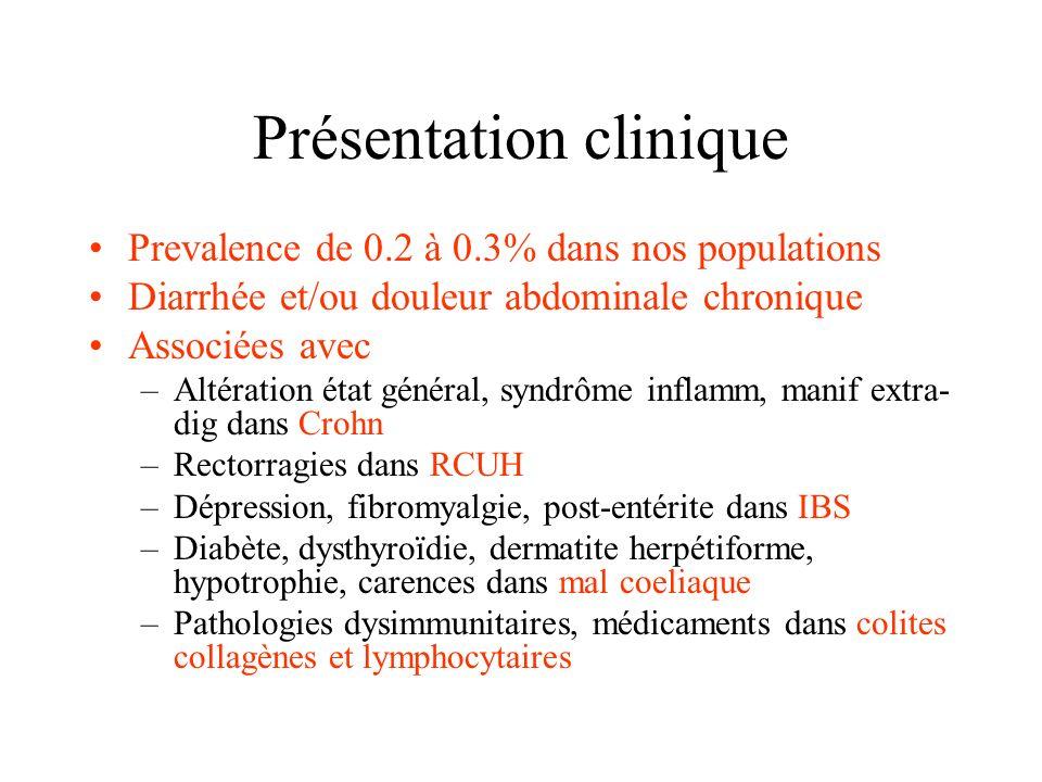 Présentation clinique Prevalence de 0.2 à 0.3% dans nos populations Diarrhée et/ou douleur abdominale chronique Associées avec –Altération état généra