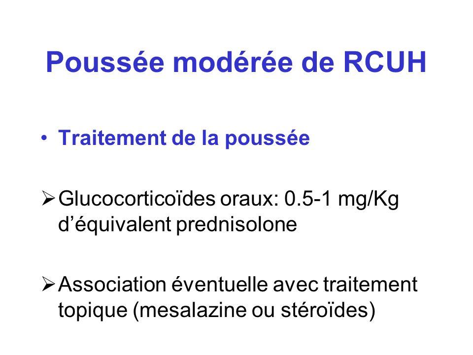 Poussée modérée de RCUH Traitement de la poussée Glucocorticoïdes oraux: 0.5-1 mg/Kg déquivalent prednisolone Association éventuelle avec traitement t