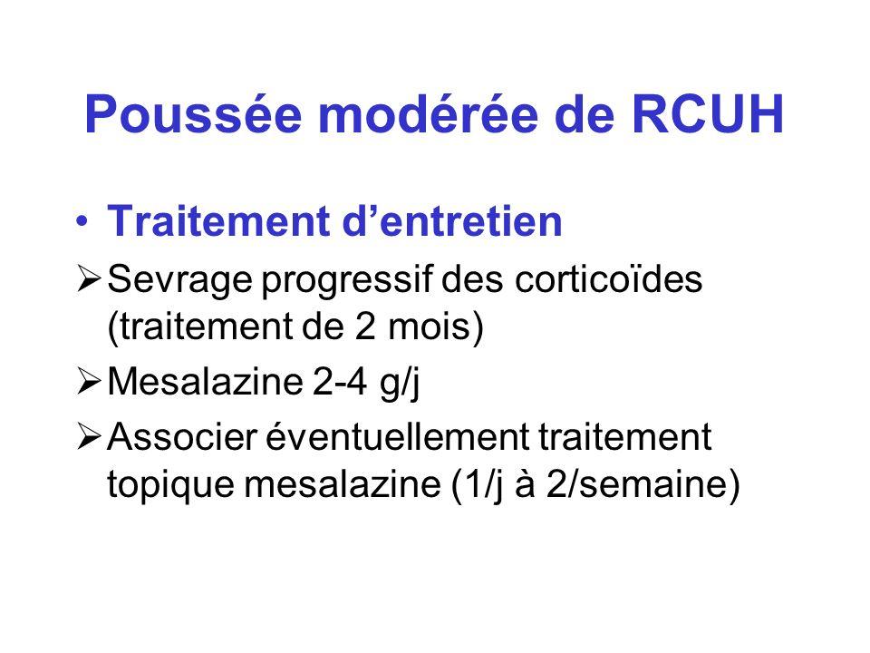 Poussée modérée de RCUH Traitement dentretien Sevrage progressif des corticoïdes (traitement de 2 mois) Mesalazine 2-4 g/j Associer éventuellement tra