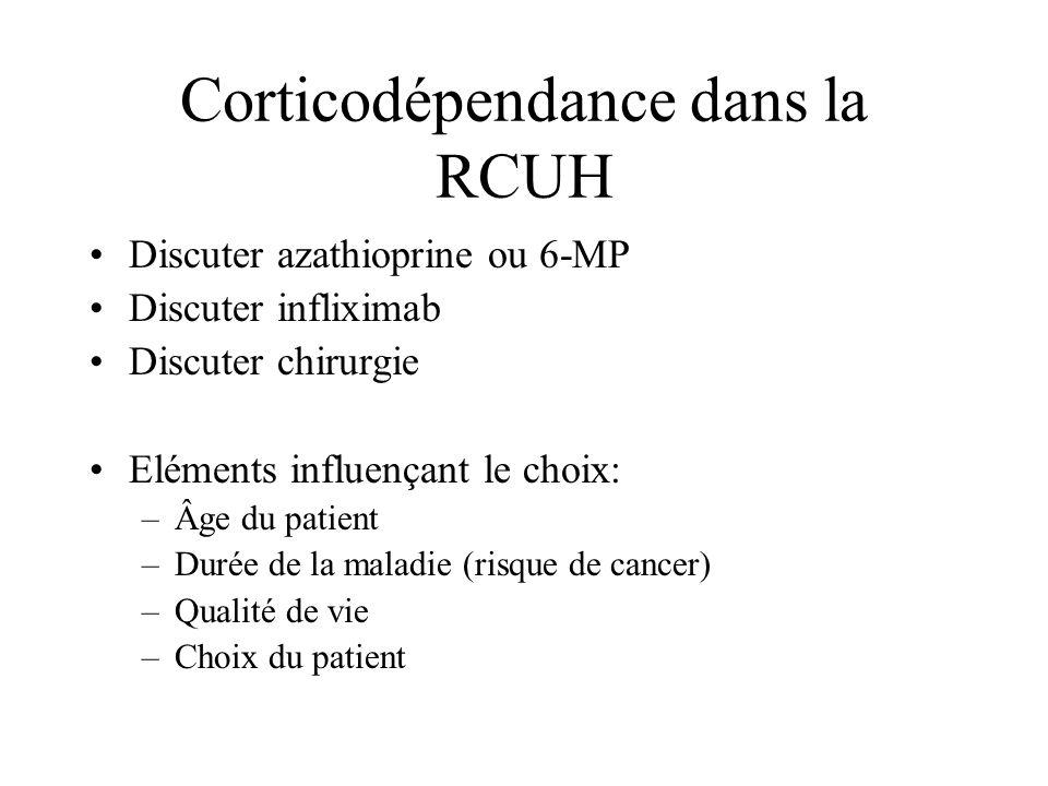 Corticodépendance dans la RCUH Discuter azathioprine ou 6-MP Discuter infliximab Discuter chirurgie Eléments influençant le choix: –Âge du patient –Du