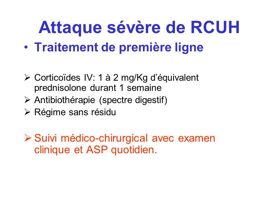 Attaque sévère de RCUH Traitement de première ligne Corticoïdes IV: 1 à 2 mg/Kg déquivalent prednisolone durant 1 semaine Antibiothérapie (spectre dig