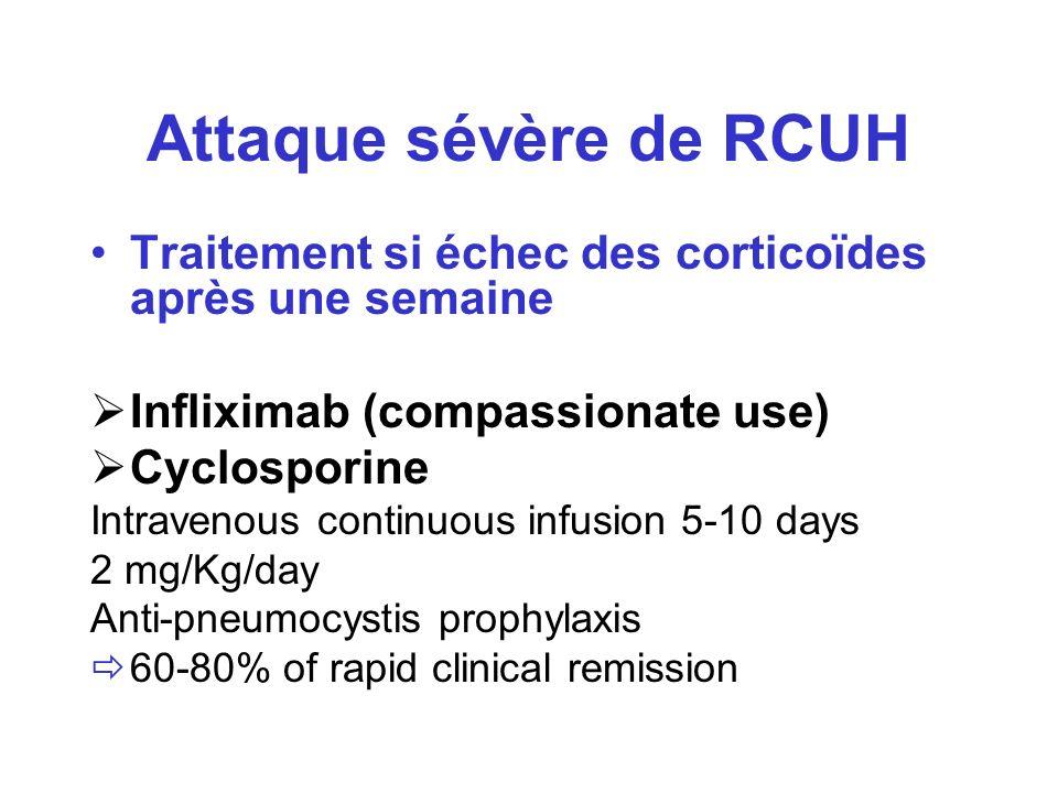 Attaque sévère de RCUH Traitement si échec des corticoïdes après une semaine Infliximab (compassionate use) Cyclosporine Intravenous continuous infusi