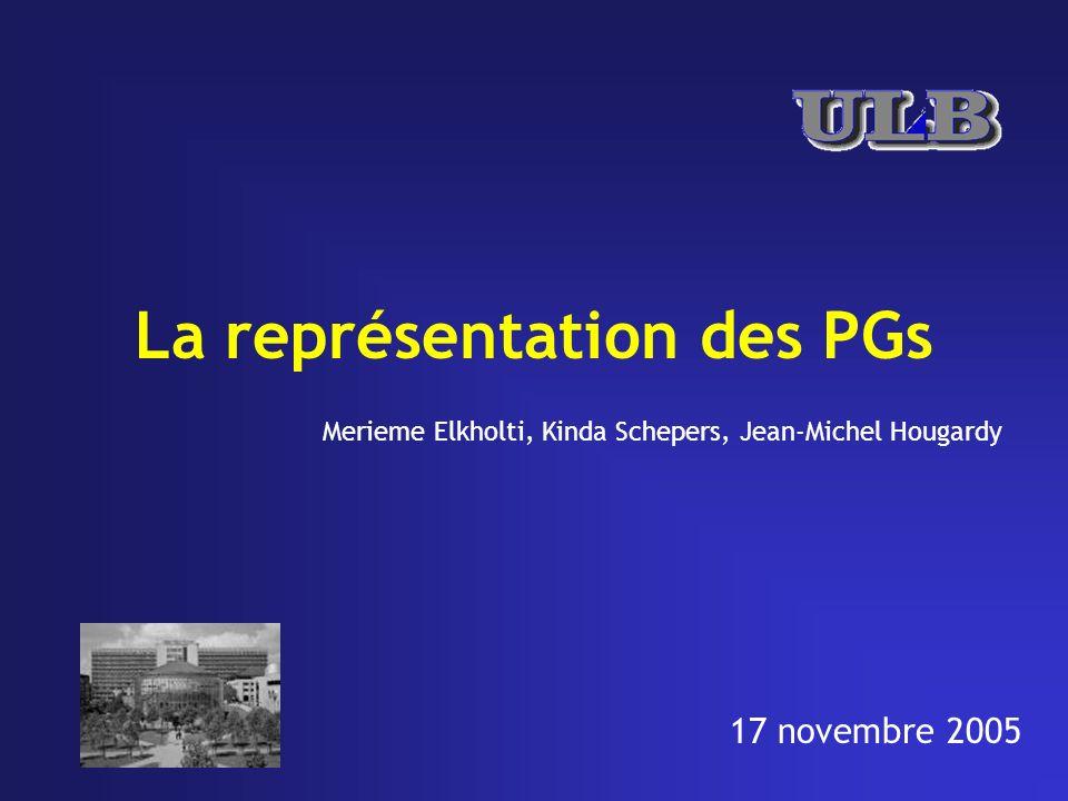 La représentation des PGs Merieme Elkholti, Kinda Schepers, Jean-Michel Hougardy 17 novembre 2005