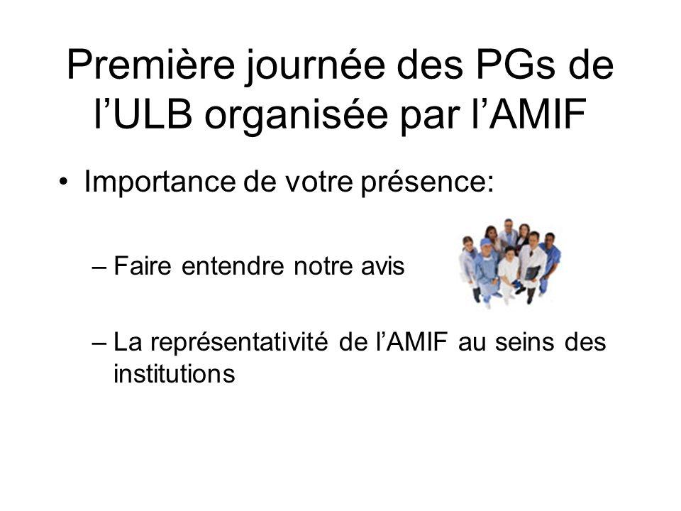 Première journée des PGs de lULB organisée par lAMIF Importance de votre présence: –Faire entendre notre avis –La représentativité de lAMIF au seins des institutions
