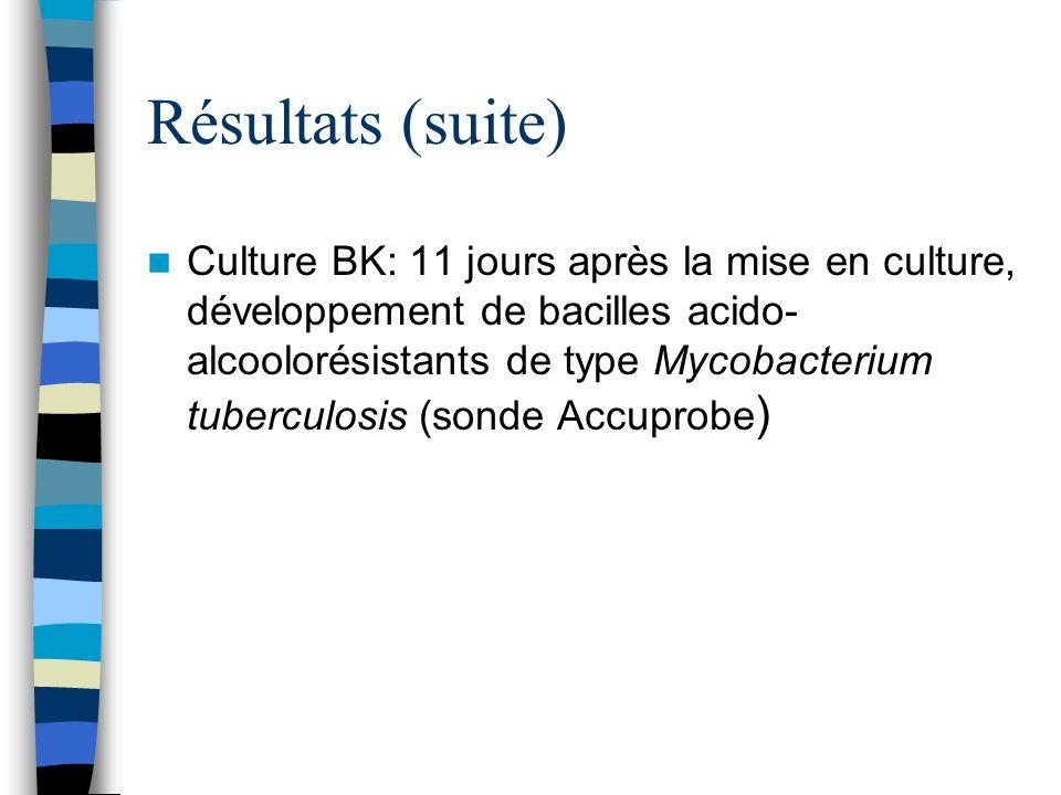 Résultats (suite) Culture BK: 11 jours après la mise en culture, développement de bacilles acido- alcoolorésistants de type Mycobacterium tuberculosis