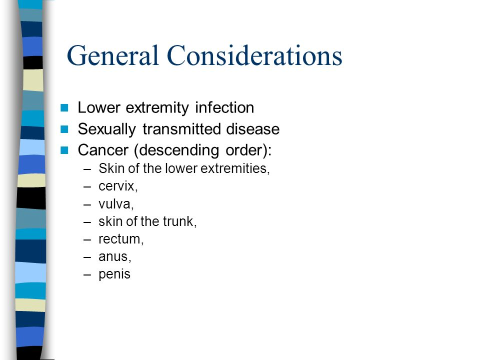 General Considerations Lower extremity infection Sexually transmitted disease Cancer (descending order): –Skin of the lower extremities, –cervix, –vulva, –skin of the trunk, –rectum, –anus, –penis