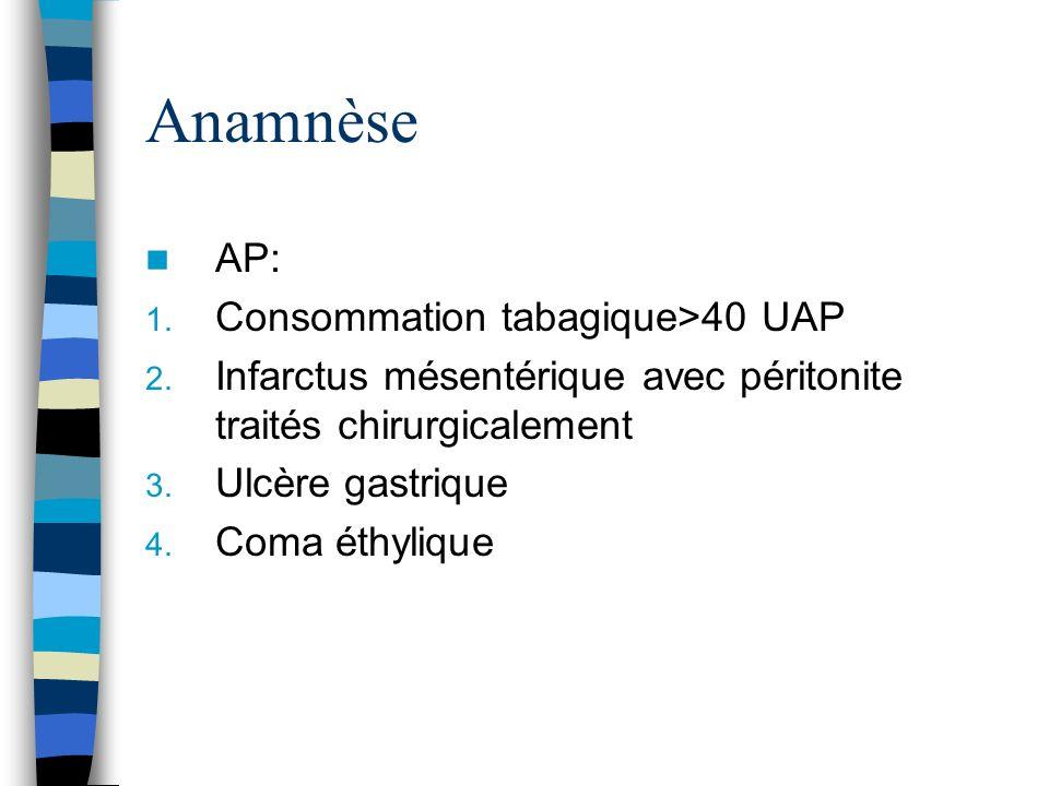 Anamnèse AP: 1. Consommation tabagique>40 UAP 2. Infarctus mésentérique avec péritonite traités chirurgicalement 3. Ulcère gastrique 4. Coma éthylique