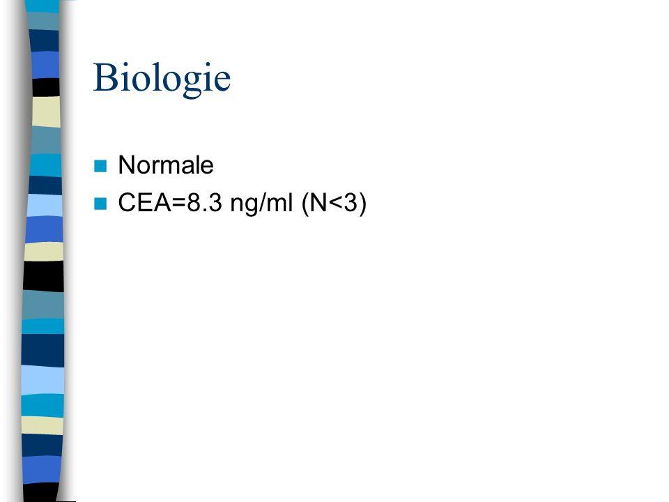 Biologie Normale CEA=8.3 ng/ml (N<3)