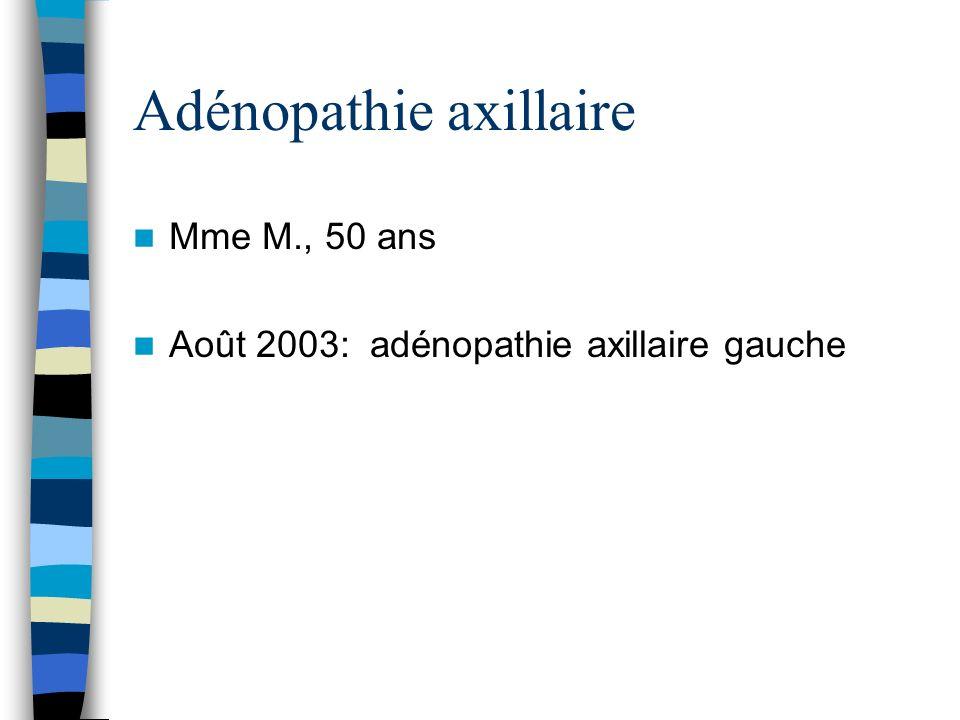 Adénopathie axillaire Mme M., 50 ans Août 2003: adénopathie axillaire gauche