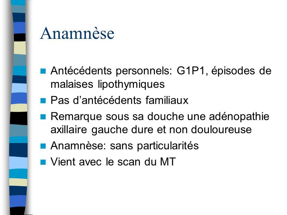 Anamnèse Antécédents personnels: G1P1, épisodes de malaises lipothymiques Pas dantécédents familiaux Remarque sous sa douche une adénopathie axillaire