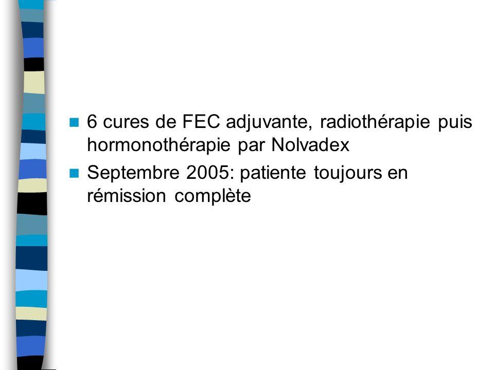 6 cures de FEC adjuvante, radiothérapie puis hormonothérapie par Nolvadex Septembre 2005: patiente toujours en rémission complète