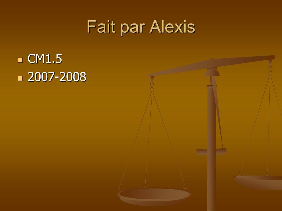 Fait par Alexis CM1.5 CM1.5 2007-2008 2007-2008
