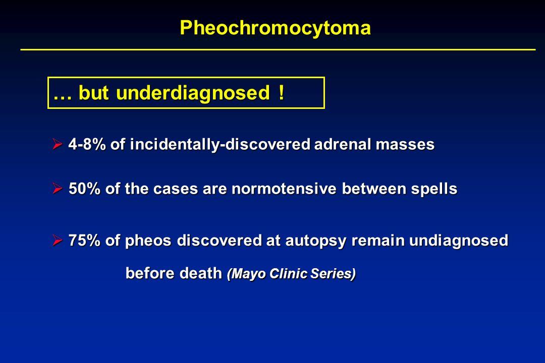 Pheochromocytoma 4-8% of incidentally-discovered adrenal masses 4-8% of incidentally-discovered adrenal masses 75% of pheos discovered at autopsy rema