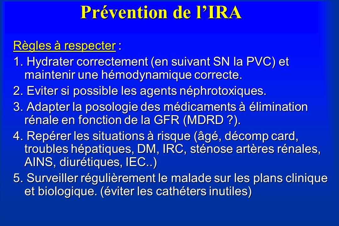 Prévention de lIRA Règles à respecter : 1. Hydrater correctement (en suivant SN la PVC) et maintenir une hémodynamique correcte. 2. Eviter si possible