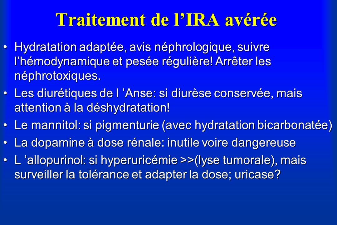 Traitement de lIRA avérée Hydratation adaptée, avis néphrologique, suivre lhémodynamique et pesée régulière! Arrêter les néphrotoxiques.Hydratation ad