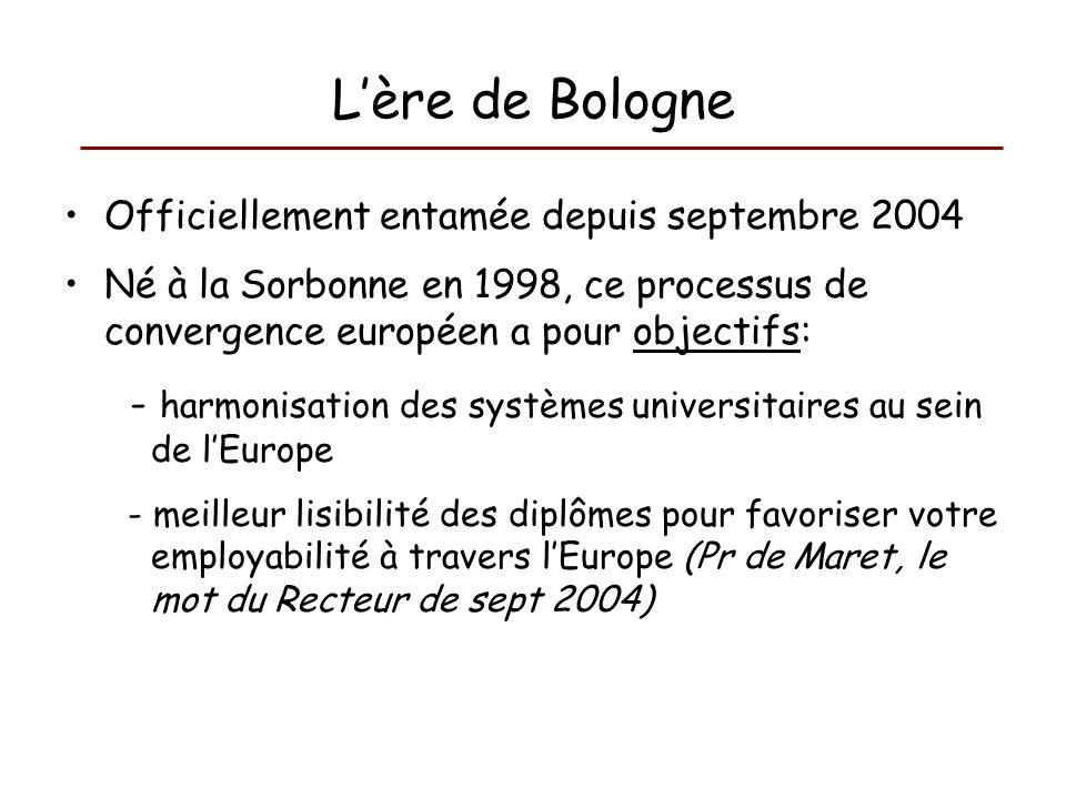 Lère de Bologne Officiellement entamée depuis septembre 2004 Né à la Sorbonne en 1998, ce processus de convergence européen a pour objectifs: - harmon