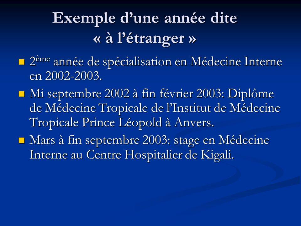 Exemple dune année dite « à létranger » 2 ème année de spécialisation en Médecine Interne en 2002-2003. 2 ème année de spécialisation en Médecine Inte