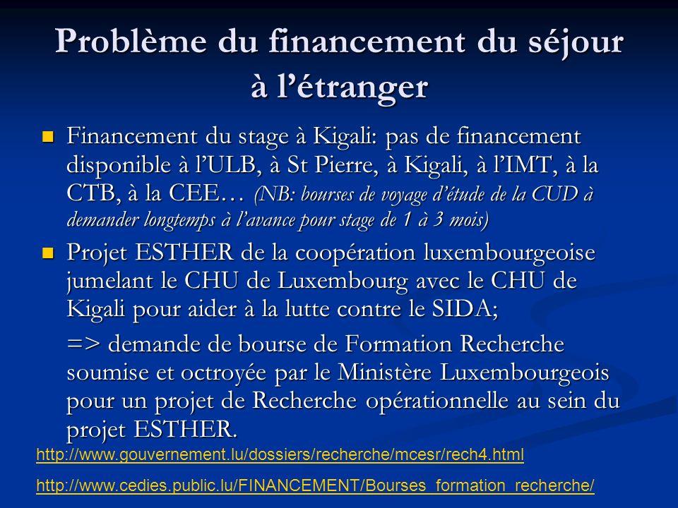 Problème du financement du séjour à létranger Financement du stage à Kigali: pas de financement disponible à lULB, à St Pierre, à Kigali, à lIMT, à la