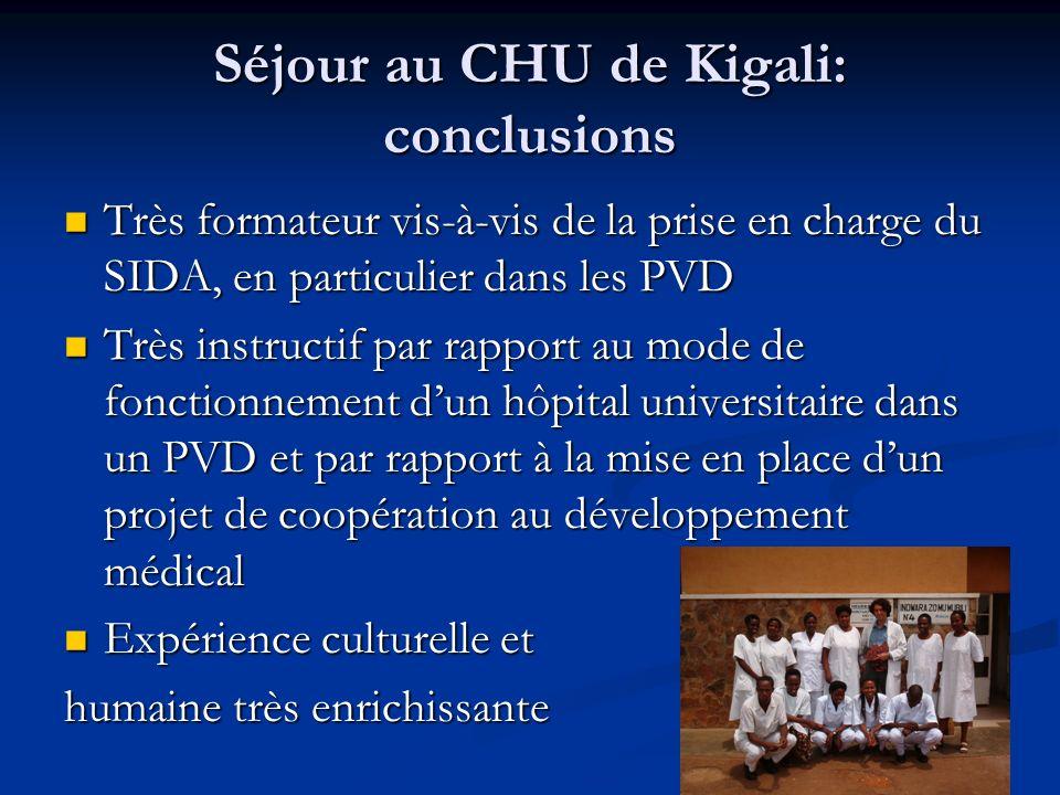 Séjour au CHU de Kigali: conclusions Très formateur vis-à-vis de la prise en charge du SIDA, en particulier dans les PVD Très formateur vis-à-vis de l