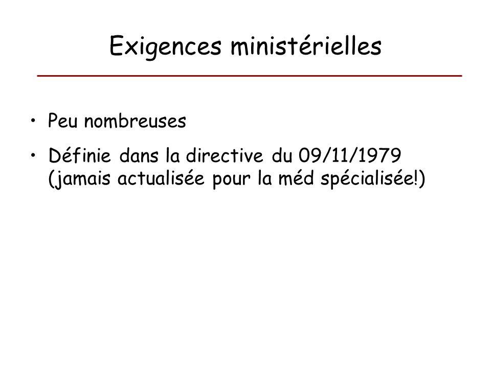 Exigences ministérielles Peu nombreuses Définie dans la directive du 09/11/1979 (jamais actualisée pour la méd spécialisée!)