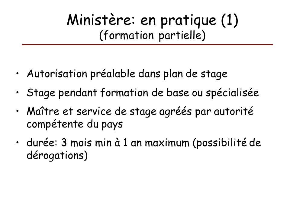 Autorisation préalable dans plan de stage Stage pendant formation de base ou spécialisée Maître et service de stage agréés par autorité compétente du