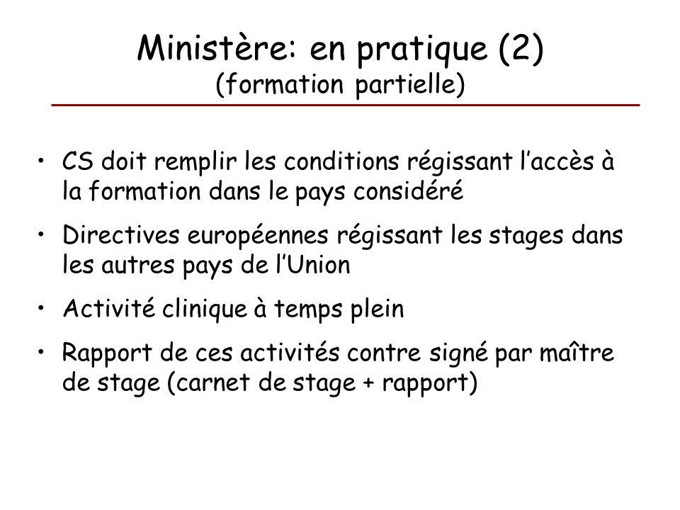 CS doit remplir les conditions régissant laccès à la formation dans le pays considéré Directives européennes régissant les stages dans les autres pays