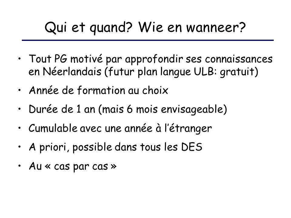 Qui et quand? Wie en wanneer? Tout PG motivé par approfondir ses connaissances en Néerlandais (futur plan langue ULB: gratuit) Année de formation au c