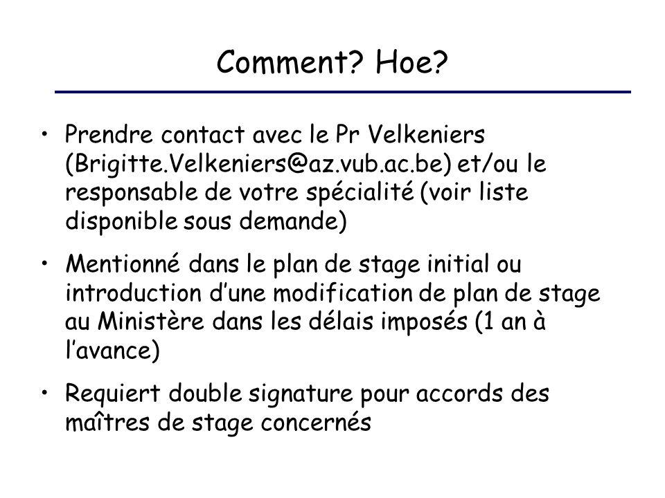 Comment? Hoe? Prendre contact avec le Pr Velkeniers (Brigitte.Velkeniers@az.vub.ac.be) et/ou le responsable de votre spécialité (voir liste disponible