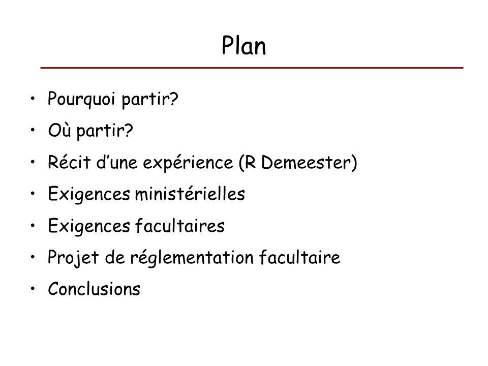 Plan Pourquoi partir? Où partir? Récit dune expérience (R Demeester) Exigences ministérielles Exigences facultaires Projet de réglementation facultair