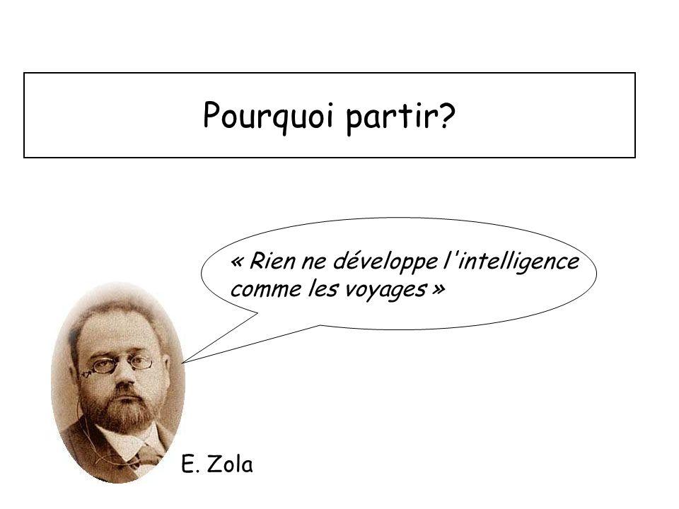 Pourquoi partir? « Rien ne développe l'intelligence comme les voyages » E. Zola