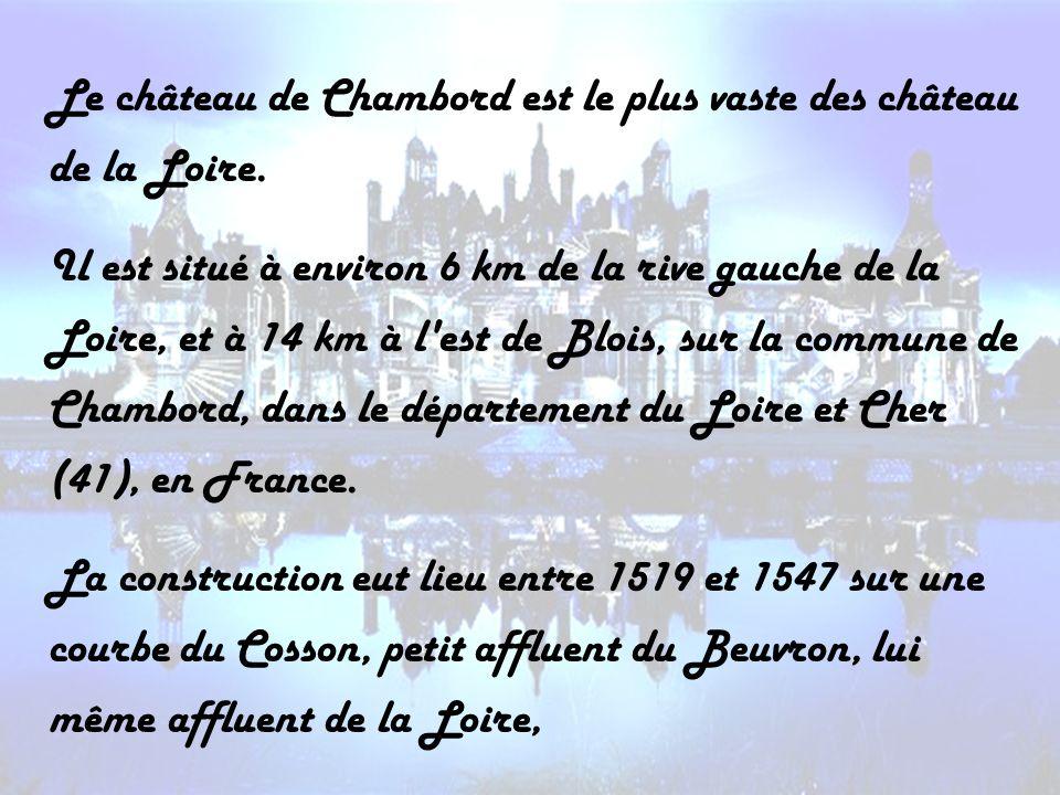 Le château de Chambord est le plus vaste des château de la Loire. Il est situé à environ 6 km de la rive gauche de la Loire, et à 14 km à l'est de Blo