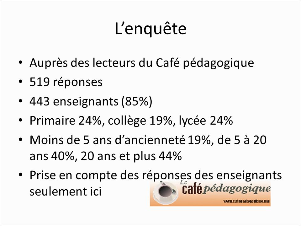 Lenquête Auprès des lecteurs du Café pédagogique 519 réponses 443 enseignants (85%) Primaire 24%, collège 19%, lycée 24% Moins de 5 ans dancienneté 19%, de 5 à 20 ans 40%, 20 ans et plus 44% Prise en compte des réponses des enseignants seulement ici