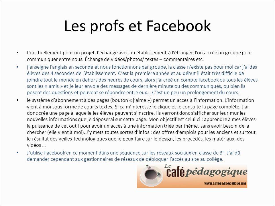 Les profs et Facebook Ponctuellement pour un projet déchange avec un établissement à létranger, lon a crée un groupe pour communiquer entre nous. Écha
