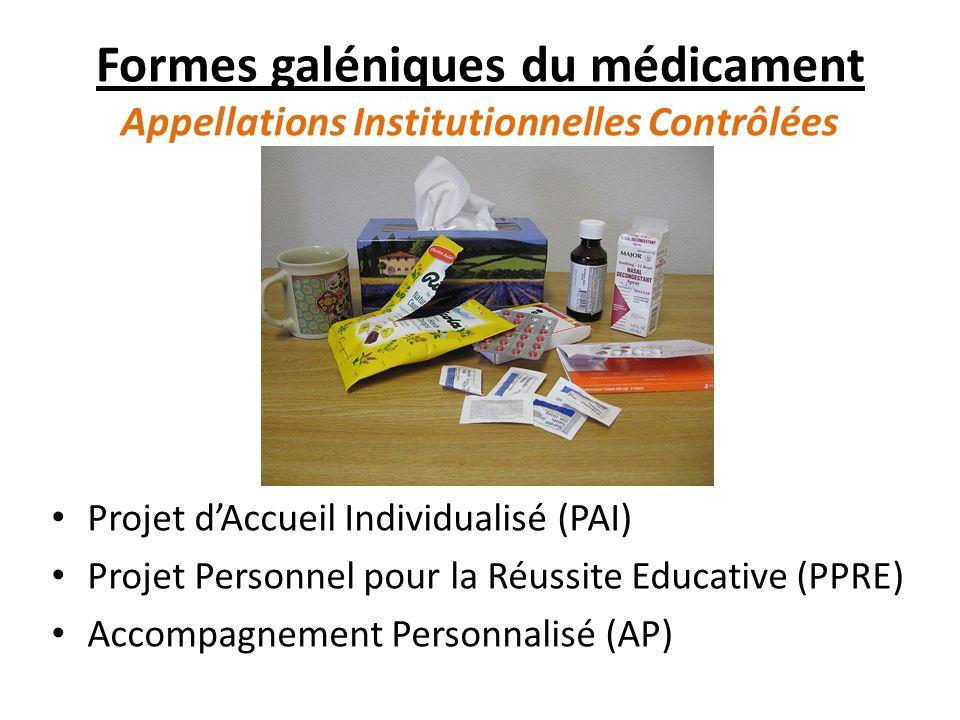 Formes galéniques du médicament Appellations Institutionnelles Contrôlées Projet dAccueil Individualisé (PAI) Projet Personnel pour la Réussite Educative (PPRE) Accompagnement Personnalisé (AP)