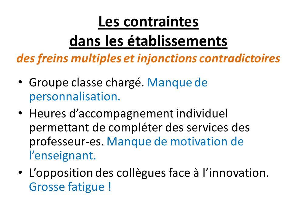 Les contraintes dans les établissements des freins multiples et injonctions contradictoires Groupe classe chargé.