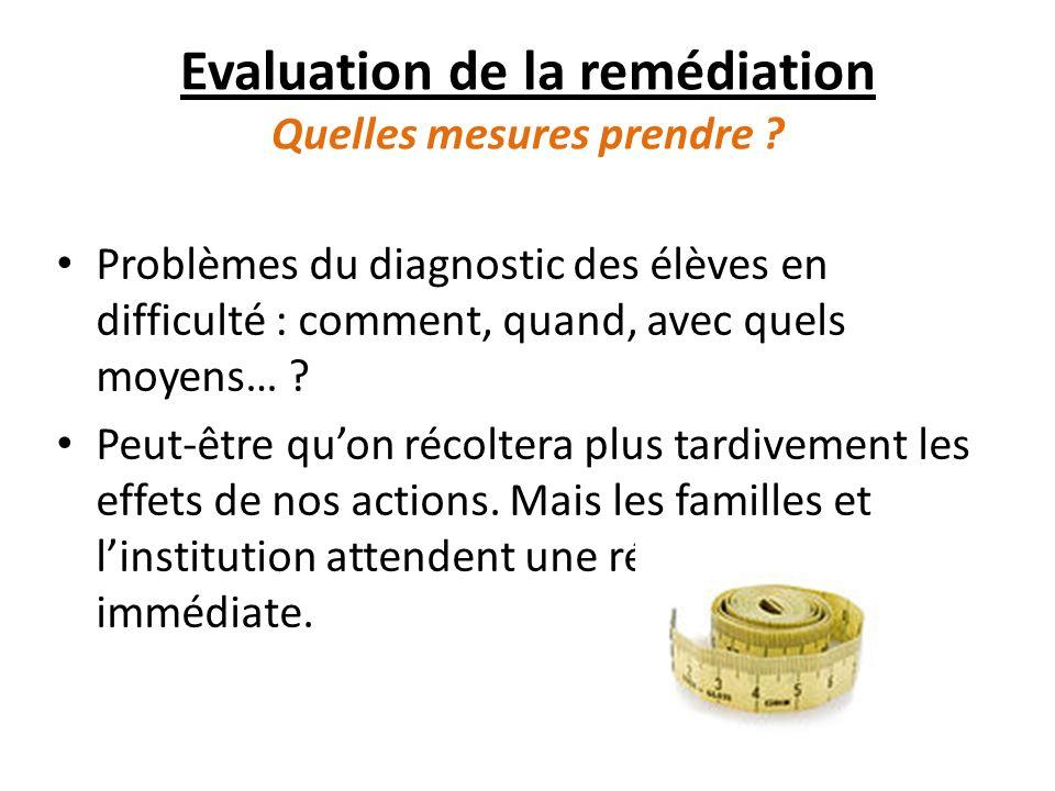 Evaluation de la remédiation Quelles mesures prendre .